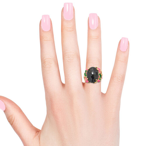 GP Boi Ploi Black Spinel (Ovl 20x15 mm), African Ruby, Amethyst,Russian Diopside and Kanchanaburi Blue Sapphire Ring in  14K Gold Overlay with Enamled Sterling Silver 14.750 Ct, Silver wt 7.78 Gms.