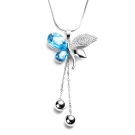 Simulated Blue Topaz, White Austrian Crystal Butterfly Pendant With Chain (Size 30 with Extender) in