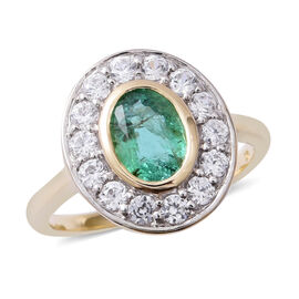 1.41 Ct AAA Emerald and White Zircon Halo Ring in 9K Gold 2.1 Grams