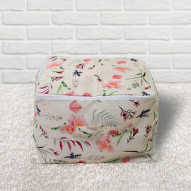 SERENITY NIGHT Floral Pattern Storage Bag with Zipper Closure (Size:33x33x24Cm) - White and Multi