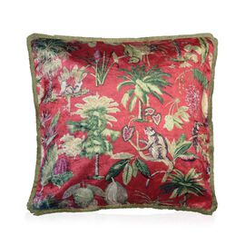 Designers Digitally Printed Silky Velvet Monkey and Tree Cushion Cover with Fringes (Size 43x43cm) -