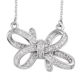 0.34 Ct Bowknot Diamond Necklace in Platinum Plated Sterling Silver 18 Inch