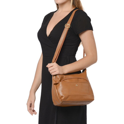 100% Genuine Leather Crossbody Bag with Multiple Pockets and Zipper Closure (Size 30x23x10cm) - Tan