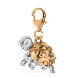 Platinum and Yellow Gold Overlay Sterling Silver Turtle Charm