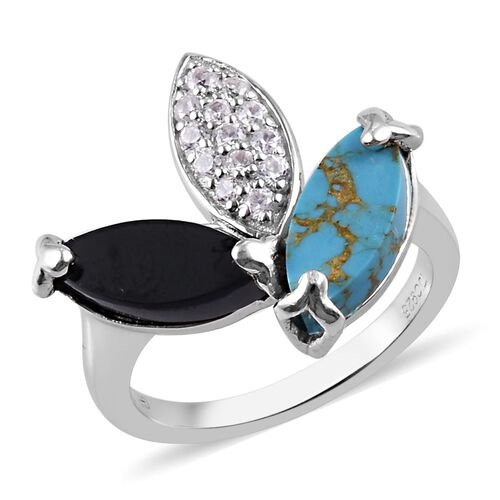 GP - Boi Ploi Black Spinel, Mojave Blue Turquoise and Multi Gemstone Leaf Design Ring in  Platinum O