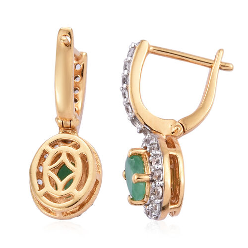 Kagem Zambian Emerald (Ovl), Natural Cambodian Zircon Earrings (with Clasp) in 14K Gold Overlay Sterling Silver 1.750 Ct.