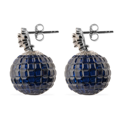 Lustro Stella Simulated Blue Sapphire and Simulated Diamond Drop Earrings (with Push Back) in Rhodium Overlay Sterling Silver