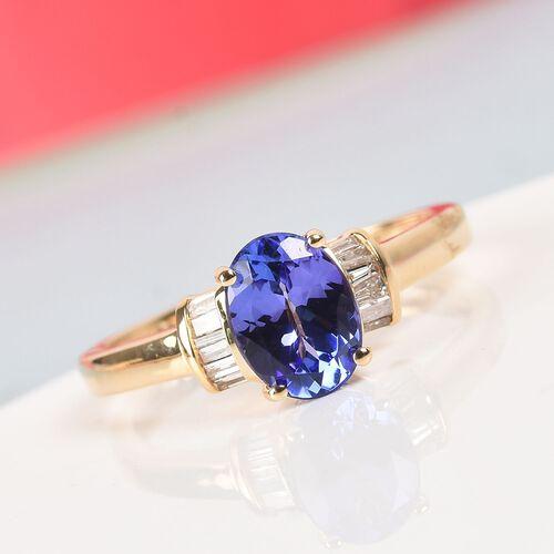 14K Yellow Gold AA Tanzanite (Ovl) and Diamond (I3/G-H) Ring 1.100 Ct.