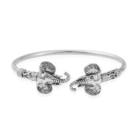 Artisan Crafted Sterling Silver Elephant Cuff Bangle (Size 7.50), Silver wt 16.25 Gms