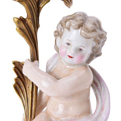 Hand Made Museum Collection - Bronze 4 Arms Candelabrum with Hand Painted Porcelain Angel (Size 45x14 Cm)