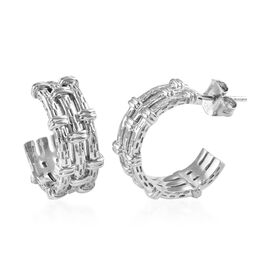 Bamboo Open Hoop Earrings in Platinum Plated Sterling Silver 8 Grams