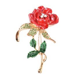 Green Austrian Crystal (Rnd), Simulated Mystic White Crystal Rose Brooch with Enamelling