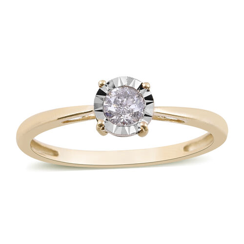 0.25 Ct Diamond Solitaire Ring in 9K Yellow Gold SGL Certified I3 GH