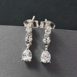 J Francis Sterling Silver Dangle Earrings (with Push Back) Made with SWAROVSKI ZIRCONIA 1.40 Ct.