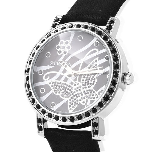 STRADA Japanese Movement Simulated Black Spinel Studded Butterfly Motif Dial Water Resistant Watch in Stainless Steel with Black Colour Strap