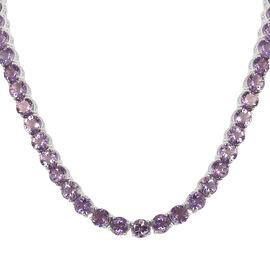 Rose De France Amethyst (Rnd) Necklace (Size 18) in Platinum Overlay Sterling Silver 100.000 Ct, Silver wt 43.72 Gms
