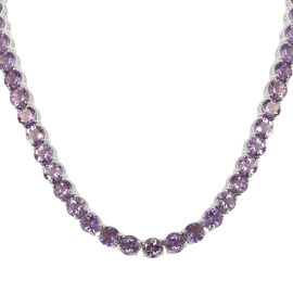 Rose De France Amethyst (Rnd) Necklace (Size 18) in Platinum Overlay Sterling Silver 100.000 Ct, Sil