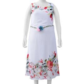 White Colour Plum Blossom Flower Pattern One Piece Dress