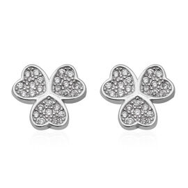 ELANZA Simulated Diamond (Rnd) Stud Earrings (with Push Back) in Rhodium Overlay Sterling Silver
