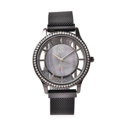 STRADA Japanese Movement White Austrian Studded Water Resistant Watch with Mesh Style Strap in Black