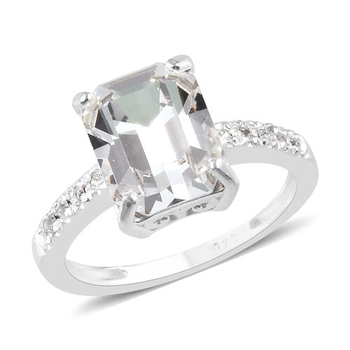 J Francis White Crystal from Swarovski Solitaire Ring in Sterling Silver