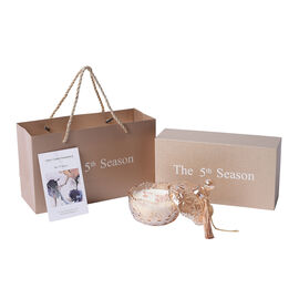 The 5th Season Tresor in Love Scented Candle Containing Rose Quartz Jade in Tassel Design Glass Cont