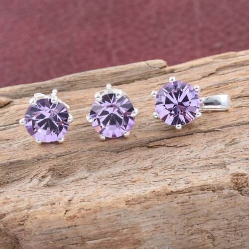 J Francis Crystal from Swarovski - Violet Colour Crystal (Rnd) Solitaire Pendant and Stud Earrings (with Push Back) in Sterling Silver