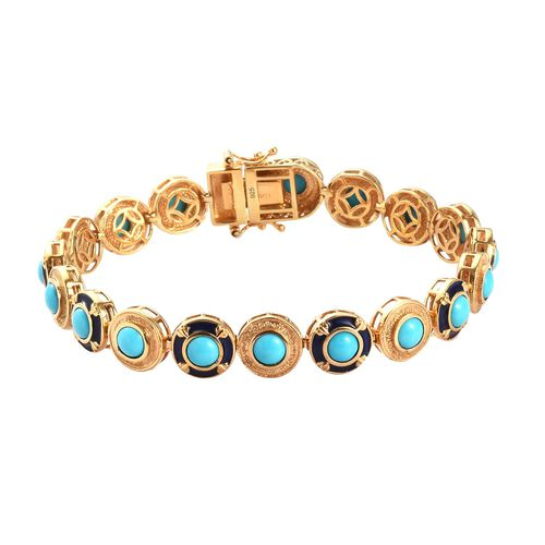 AA Arizona Sleeping Beauty Turquoise Enamelled Bracelet (Size 7.5) in 14K Gold Overlay Sterling Silv