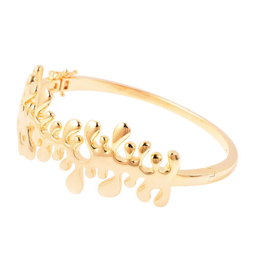 LucyQ Splash Bangle (Size 8) in Yellow Gold Overlay Sterling Silver, Silver wt 39.60 Gms
