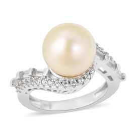 White South Sea Pearl (Rnd 10-11 mm), Natural White Cambodian Zircon Ring in Rhodium Overlay Sterlin