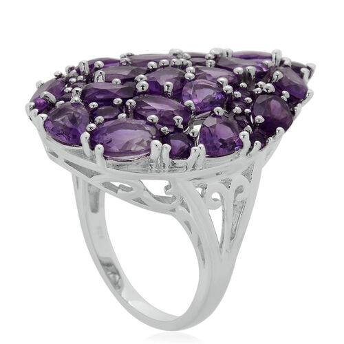 Amethyst (Ovl and Rnd) Cluster Ring in Sterling Silver 7.330 Ct.