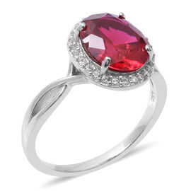 ELANZA Simulated Ruby (Ovl), Simulated Diamond Ring in Rhodium Overlay Sterling Silver
