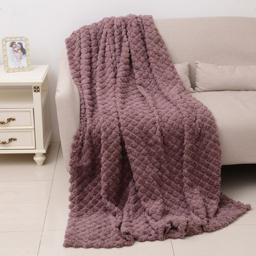 TJC Season Launch  - Supersoft Fine Micro- Dusty Pink Colour Mink Blanket with Matching Colour Sherpa BACKING and Ultrasonic Quilting in Colour  (Double Bed - 150x200 Cm)