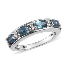 Teal Kyanite and Natural Cambodian Zircon Half Eternity Ring in Platinum Overlay Sterling Silver 1.5