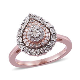 0.21 Ct Diamond Cluster Ring in Rose and Platinum Plated Sterling Silver