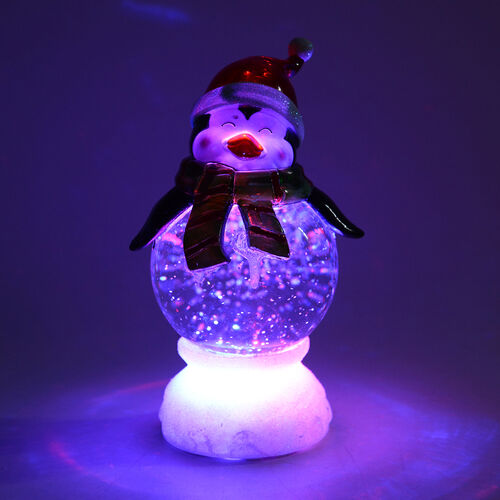 Penguin with Christmas Hat and Bright Colour Scarf LED Light (Size 22.5x12 Cm)