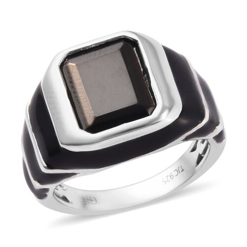 GP Elite Shungite and Blue Sapphire Enamelled Ring in Platinum Overlay Sterling Silver 3.52 Ct, Silv