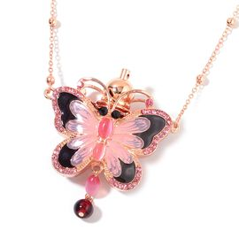 Istanbul Treasures - Simulated Cats Eye Pink, Simulated Ruby and Pink and Black Austrian Crystal Butterfly Aroma Necklace (Size 27 and 2.5 inch Extender) Enameled with Rose Tone