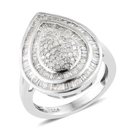 1 Carat Diamond Cluster Ring in Platinum Plated Sterling Silver 4.23 Grams