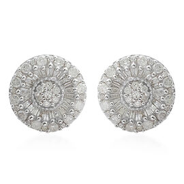 Diamond (Rnd and Bgt) Stud Earrings in Platinum Overlay Sterling Silver 1.000 Ct.