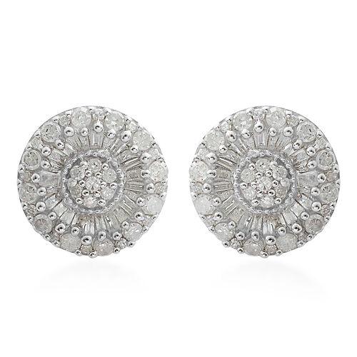 Diamond (Rnd and Bgt) Stud Earrings in Platinum Overlay Sterling Silver 1.000 Ct, Number of Diamond