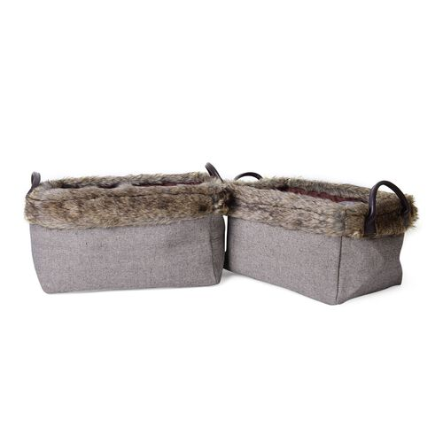 Set of 2 - 70% Cotton Dark Grey Colour Multi Purpose Faux Fur Basket with Faux Leather Handles (Size Small 36X26X20 Cm and Large 40X30X22 Cm)