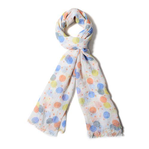 White, Blue, Yellow and Orange Colour Dot Pattern Scarf (Size 170x90 Cm)