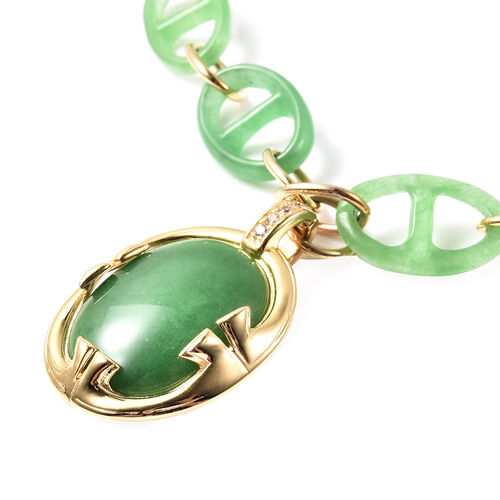 Green Jade and Natural Cambodian Zircon Necklace (Size 18) in Yellow Gold Overlay Sterling Silver 62.70 Ct, Silver Wt. 6.30 Gms