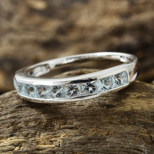Sky Blue Topaz (Rnd) Half Eternity Band Ring in Sterling Silver 1.000 Ct.