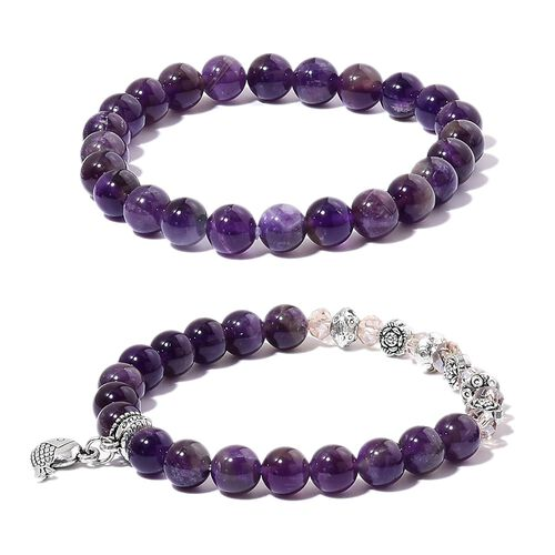 Set of 2 Amethyst and Champagne Colour Beads Fish Charm Stretchable Bracelet (Size 7) and Pendant With Chain (Size 24) in Stainless Steel 220.500 Ct.