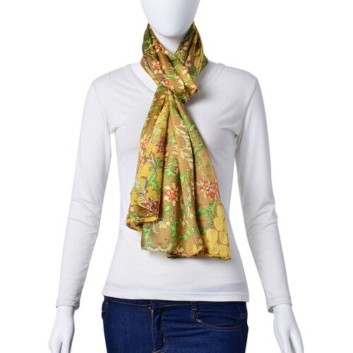 Close Out Deal- 100% Mulberry Silk Golden, Red and Multi Colour Floral Pattern Scarf (Size 180X110 Cm)