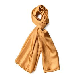 Pantone Collection- 100% Mulberry Silk Golden Colour Scarf (Size 180X100 Cm)