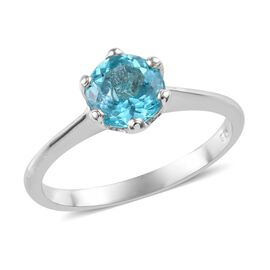Paraibe Apatite (Rnd) Solitaire Ring in Platinum Overlay Sterling Silver 1.25 Ct.