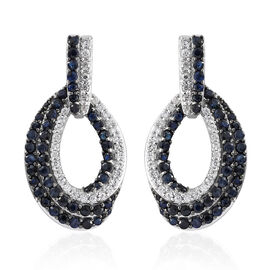 Kanchanaburi Blue Sapphire (Rnd), Natural Cambodian Zircon Earrings (with Push Back) in Platinum Ove